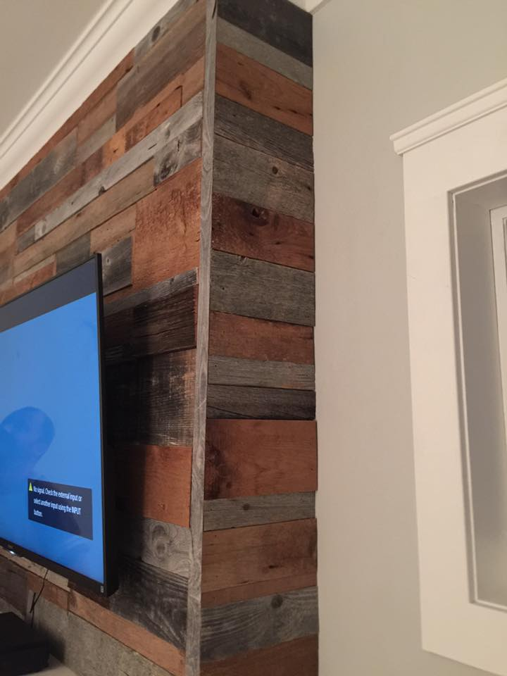 Wood Fireplace barnwood fireplace : Fireplaces – JMF Custom Wood Features l Barndoors • Feature Walls ...