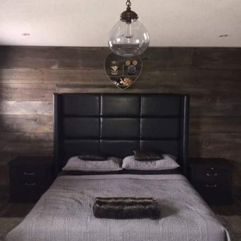 brown barnwood bedroom feature wall