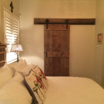 Brown barnwood mid rail plank pattern barndoor