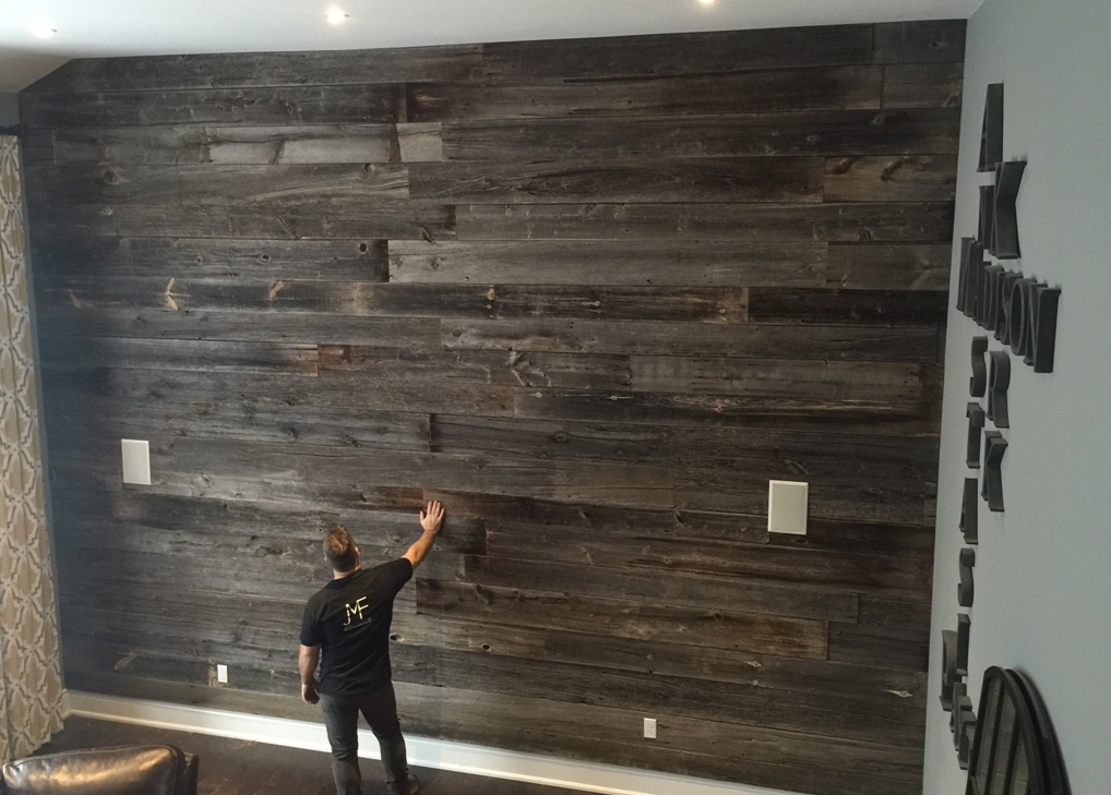 Wood Feature Wall barn wood wall. reclaimed wood accent wall in chevron design. diy