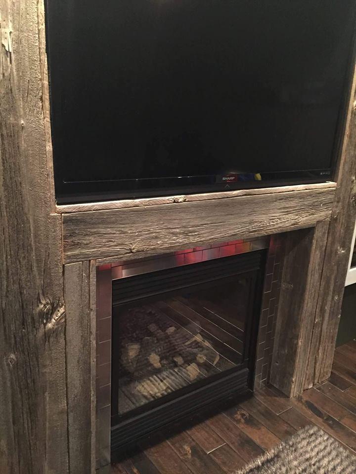Fireplaces – JMF Custom Wood Features l Barndoors • Feature Walls ... : barnwood fireplace : Wood Fireplace
