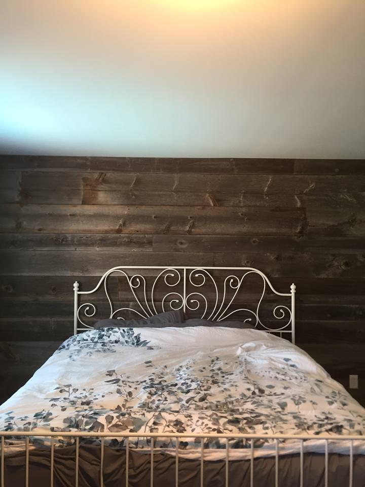 Feature walls jmf custom wood features l barndoors for Grey feature wallpaper bedroom
