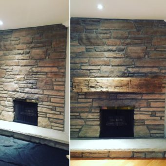 Large barn beam fireplace mantle before and after.