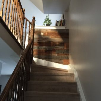 Mini top of stairs 2 toned barnwood feature wall