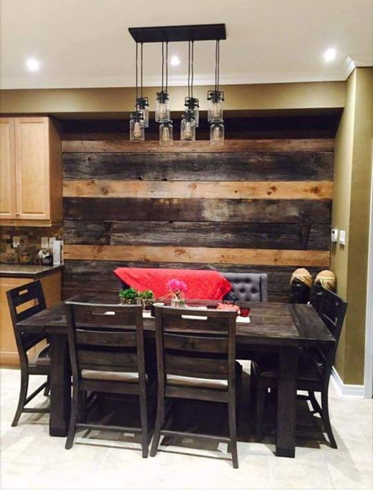 Feature walls jmf custom wood features l barndoors for Dining room feature wall