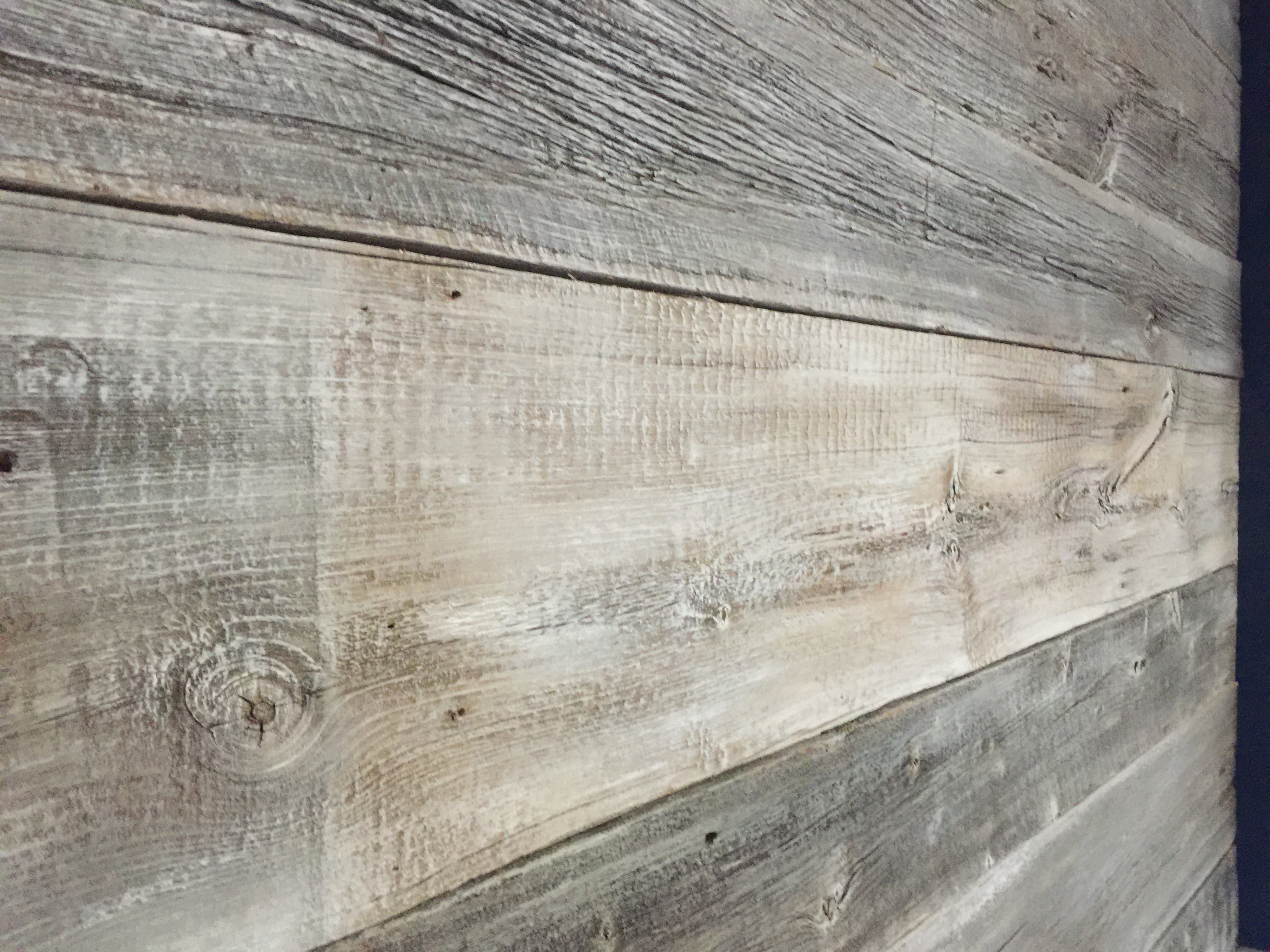 White washed Barnwood feature wall with built in side tables